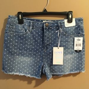 NWT YMI High Waisted Polka Dot Denim Shorts